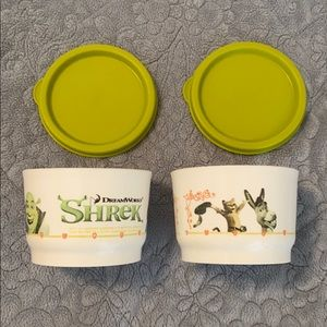 Tupperware Shrek Snack bowls with Lids